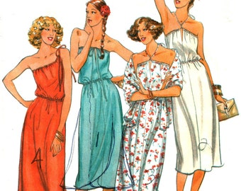 Convertible Dress Pattern, Halter, One Shoulder, Strapless, Loose fitting, Stretch fabric, Wrap, Butterick 6135 Size 8-10