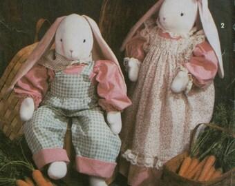"Stuffed Bunnies Pattern, Girl and Boy Outfits, Faith Van Zanten Design, Simplicity No. 7599 UNCUT Size 28"" (71cm) Tall Dolls"
