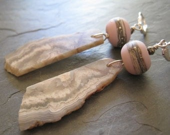 LACE AGATE and PINK lamp work Nuetral Earrings