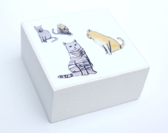 Cats: woodblock made from a collagraph print by Sally Fisher