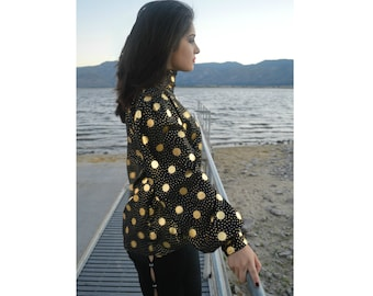 Gold Lame Polka Dot Blouse, High Neck, Wide Sleeves, Vintage Disco Statement
