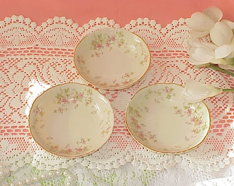 3 Vintage Federal Shape Syracuse Pink Flowers Dessert Dishes 1949