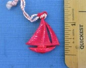 Celluloid Sailboat Charm / Pendant - Large & Magenta Red, Vintage