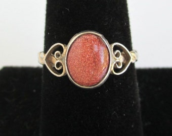 Sterling Silver & Goldstone Ring - Gold over Silver - Vintage, Size 8 1/4