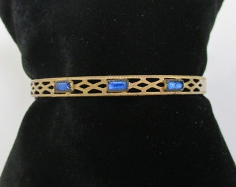 Hinged Bangle Bracelet - Vintage / Antique - Solid Brass w/ Blue Stones, Small, Child's