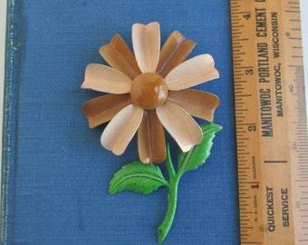 Vintage Enameled Metal Pin - Large Daisy Flower Brooch
