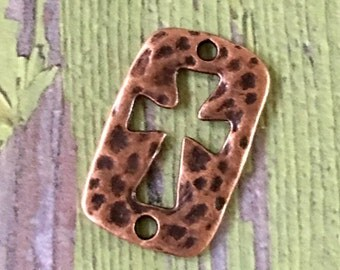 CROSS Antiqued Copper Hammered Pewter Cut Out Connector Charm (2 Holes)