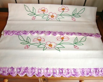 Vintage Pair of Embroidered Cotton Muslin Pillowcases w/ Hand Crocheted Trim