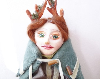 Fauna Deer Art Doll, OOAK Doll, Sculpted Paperclay Doll