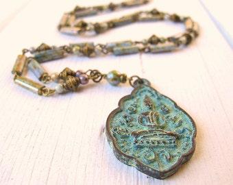 Buddha Necklace, Long Pendant Necklace, Blue Green Patina, Bohemian Jewelry, Boho Bijoux, Czech Glass Jewelry, Bohemian Necklace, Hippie