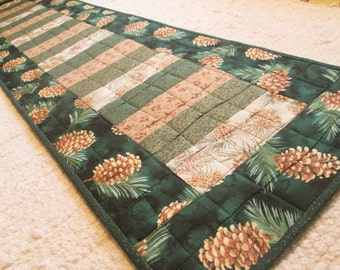 Quilted Winter Pine Cone Table Runner