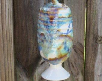 Stoneware Pottery Hummingbird Feeder in Tri-color glaze Wheel thrown handmade