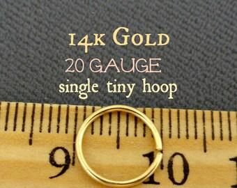 14k Gold Tiny Hoop