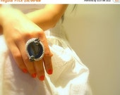 Handmade Crochet Ring, Agate, Blue, Cotton Silver Lame Yarn, Pewter Glass Beads, Adjustable
