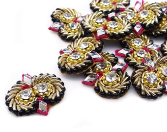 Mirror Beaded Applique Indian Patches Supplies Designer Sewing Bridal Dress Appliques Supplies Costume Sew Beaded Applique By 12 Pcs APS323D