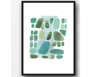 watercolor painting green pebbles, modern abstract art, Giclee print green watercolor teal nature inspired painting