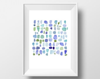 Sea glass Art  original watercolor painting, little blue green painting, nautical painting
