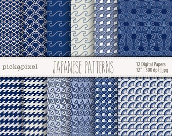 Japanese Patterns, Geometric Paper Pack, Blue and Baige, Indigo Blue Papers, Printable Pack, Digital Papers