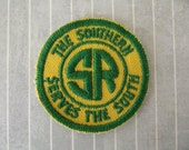 """Small Vintage 2"""" SEW ON The Southern Railway Railroad Patch Locomotive Passenger Train Collectible Shirt Hat Patch Green Yellow Applique"""