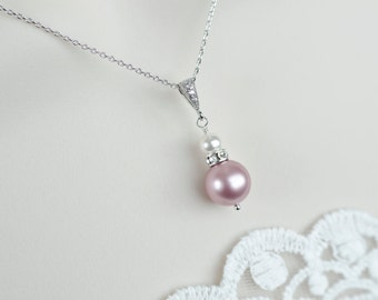 Bridesmaids Necklace,Powder Rose and White Swarovski Pearls Necklace,CZ Necklace,Bridesmaid Mother of The Bride Mother of the Groom Necklace