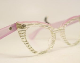 Unused Vintage Lucite Cat Eye Glasses Pink Authentic 1960's Frames