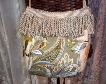 FREE SHIPPING/Handbags and Purses, Linen bag, Floral Paisley bag, Boho bag, Romantic Chic, Cross-body bag, Handmade bag, Debbie Sews Retro