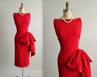 50's Evening Dress //  Vintage 1950's Sexy Red Fitted Cocktail Party Bombshell Swag Dress by Symphony S M