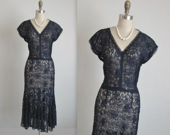 40's Lace Dress // Vintage 1940's Navy Lace Sheer Peekaboo Dress M As Is