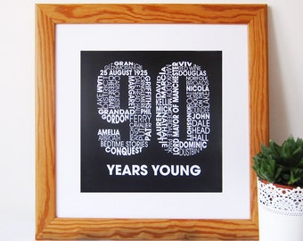 90th Birthday Personalised Print - Personalised 90th Gift - Ninety years old present - Typographic 90th print