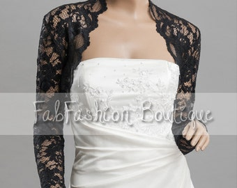 Black stretchy evening long sleeved lace bolero jacket shrug Size S-XL, 2XL-4XL