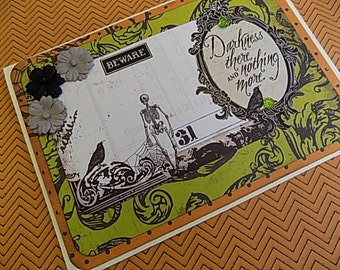 Halloween Embellished Card - Darkness There and Nothing More - Blank Greeting - Orange Black