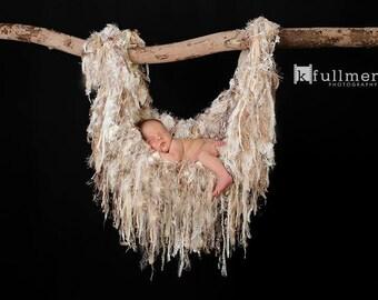 Newborn Baby Photo Prop Fringe Hammock Blanket Children Cream Neutral