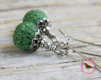 Kelly Green Lava Drop Earrings, Green Aromatherapy Earrings, Rustic Earring, Essential Oil Lava Stone Earrings, by MagpieMadness for Etsy