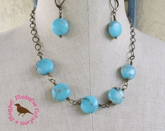 Sky Blue Jasper Statement Necklace, Rustic Blue Gemstone Statement Necklace, Short Statement, Ocean Blue Bib, by MagpieMadness for Etsy