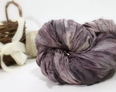 Recycled Sari Ribbon ,Wilted Violets, by the yard, hand dyed chiffon ribbon, jewelry making, doll clothing, spinning supplies