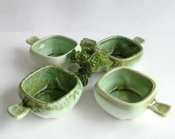 Green Ceramic Ramekins, Mid Century, Green and Cream, Ceramic Bowls, Set of 4, Molten Glaze, Individual Ovenware, Small Casserole Dishes,