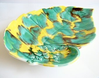 Green and Yellow Leaf Dish, Serving Dish, Bright Colours, Turquoise Green, Entertaining Platter