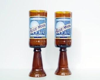 Beer Bottle Wine Glasses Blue Moon Goblets Candle Holders Set Of 2