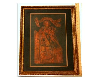Vintage Sir John Clerke Brass Rubbing Framed And Matted Under Glass
