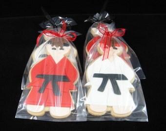 Ninja/Karate Kid Cookies, Cookie Favors, Ninja Cookies, Party Favors, Sugar Cookies, Martial Arts Party, Karate Party, Kids Parties - QTY 12