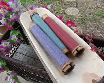 Set of 3 Antique, Vintage Bobbins, Spools, Yarn, Farmhouse, Blue, Rose