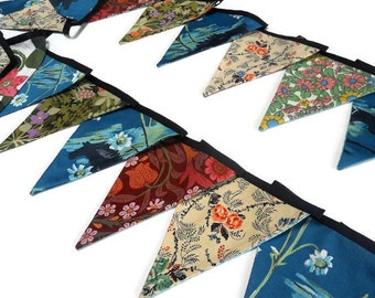 11 ft LONGER LENGTH Bold Bunting Vintage Fabic with Horse motif and blue, green and pink fabrics