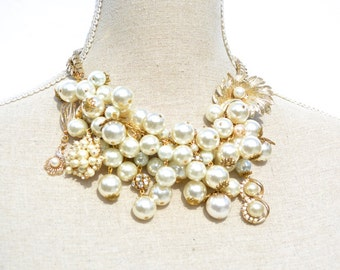 Pearl Statement Necklace, Chunky Necklace, Vintage Jewelry