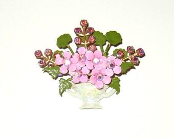 Vintage 3-D Rhinestone Enamel Flower Brooch