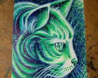 ORIGINAL DRAWING Kitty II Pop Art Artwork 8 x 10 in. Green and Blue Feline Cat PopArt Kitty Cat Decor Marker Illustration