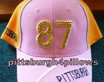 Save 10% Ladies - Pittsburgh Rhinestones  - # 87 - Baseball Cap -  Pink,Black & White - Gold Backing -