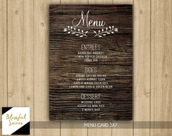 Dinner Menu | Rehearsal Dinner Menu | Printable Menu | Rustic | Wood |  Wedding Menu | Holiday Menu | M1