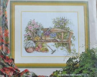 Spring Garden Bench - Lanarte - Cross Stitch Kit #34388 - 28 Count Cream Evenweave