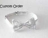 Custom Order for Chenice - Book Lover's White Bow Tie, Pre-tied