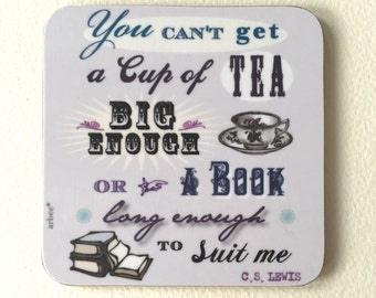 CS Lewis Cup of Tea Coaster Book Lover Tea Lover Gift